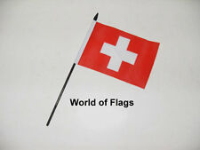 "SWITZERLAND SMALL HAND WAVING FLAG 6"" x 4""  Swiss Crafts Table Desk Top Display"