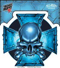 Yujean Sticker Aufkleber Blue Cross Skull Totenkopf Iron Cross Bike Helm Laptop