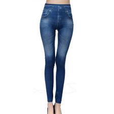 Women Slimming Denim Leggings Jeggings Printed Pocket Jeans Casual Pencil Pants