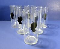 Vintage Federal Glass Victorian Lady Silhouette Juice/ Cocktail Glasses Set of 6