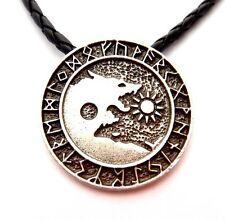 WOLF YINYANG PENDANT Day Night Sun Moon Fenrir Norse Viking Runes necklace 2Y