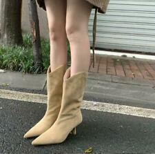 Womens New Suede Leather Pointed Toe High Heel Western Mid Calf Boots Shoes SKGB