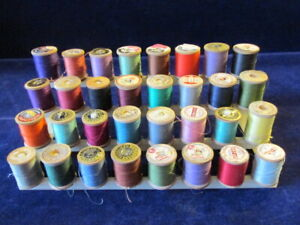 32 Vtg Cotton Sewing Thread Wood on Spools Colorful Lot on Display Stand D11