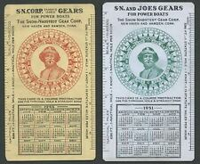 SNOW-NABSTEDT FAMOUS JOE'S GEAR CORP. Celluloid Course Protractor/Calendar Cards