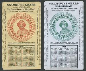 SNOW-NABSTEDT FAMOUS JOE'S GEAR CORP. Celluloid Course Protractor/Calendar Cards