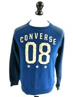 CONVERSE Boys Jumper Sweater 13-15 Years Blue Cotton & Polyester