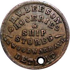 1863 Detroit Michigan Civil War Token H W Beeson Ship Stores