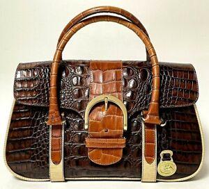 BRAHMIN Tri-Color Collection Designer Leather Handbag Clutch Purse