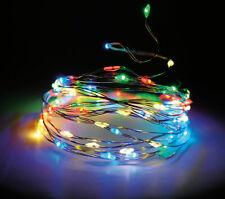 Micro Draht Lichterkette 160 LED bunt / multi - Innen + Außen - Timer Funktionen