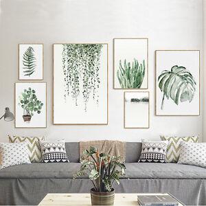 Tropical Plants Leaves Canvas Vintage Poster Wall Art Prints Modern Home Decor
