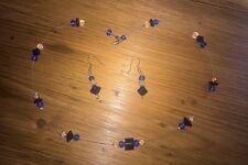NEW HANDMADE BLUE  BEAD  JEWELLERY SET NECKLACE & MATCHING EARRINGS SET.