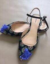 Jcrew $148 Foulard-Print Tassel Flats Sz 8.5 Navy Blue Shoes G0869