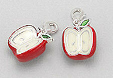 "Solid Sterling Silver 1"" Big Red Apple Enamel Charm Bracelet Pendant Necklace"