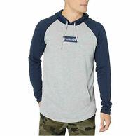 Hurley Men's Box Logo Graphic Hooded T-Shirt, Gray/Blue, Size XL, NwT