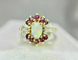 3Ct Oval Cut Fire Opals & Ruby Cocktail Engagement Ring 14K Yellow Gold Finish