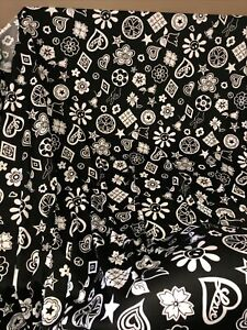 """1980's Black & White Happy Logo Design Polyester Fabric 5 Yards 60"""" Wide"""
