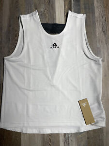 NEW Adidas Women's PRIMEBLUE V-slit Tennis Tank FQ2410 White/Black Sz SMALL NWT