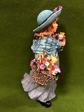 Dollhouse Miniature Resin Doll with Flower Basket