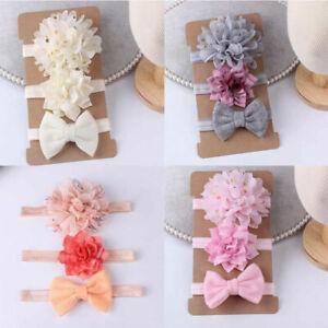 3Pcs Newborn Baby Girls Flower Headband Infant Toddler Kids Knot Hair Band Sets