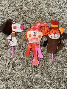 Vintage Lot 3 Clown Monkey Dog Puppy Cupcake Toppers Or Picks Pink