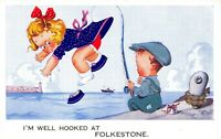 Vintage Comic Fun Postcard, I'm Well Hooked at Folkestone Cheeky Kids AD8