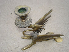 """Antique Bronze Old Dragon Candle Holder 6 1/2"""" Tall A1 Beautiful"""