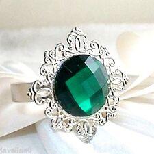 2 Ronds de Serviettes Diamant Vert Emeraude Déco Table Mariage Soirée Fête  L 15