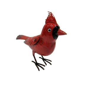 Small Rustic Winter Holiday Cardinal Metal Tin Song Bird Figure
