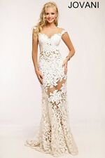 White Lace Jovani Prom/ Evening Gown - SIZE 4