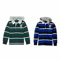 New Polo Ralph Lauren Big Boys Cotton Hooded Rugby Shirt Choose Size MSRP $65