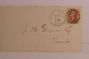"""ENVELOPE WITH CONTENTS - COOL """"1"""" IN CENTER OF DASHES - WORCESTER, MASS."""