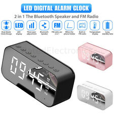 Digital Desk Clock Bluetooth Speaker Stereo Bass Tf/Fm Radio Led Alarm Clock Usa