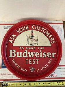 """BUDWEISER ASK YOUR CUSTOMERS """"TEST"""" BEER TRAY ANHEUSER-BUSCH ST LOUIS MISSOURI"""