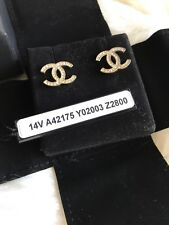 Authentic CHANEL CC Logo Crystal Classic Gold Earrings Tag Preowned