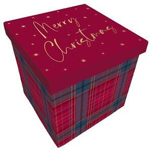 Christmas Gift Box with Lift off Lid - Merry Christmas Tartan 20x20x20cm