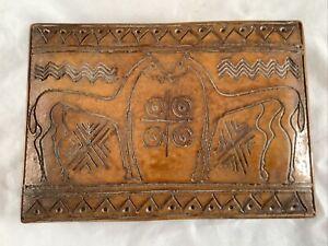 "Vintage Rustic Italian Folk Art Brown Ceramic Trinket Box Lid Horses Italy 6.5"""