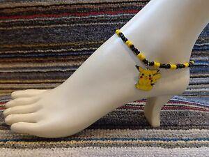 PIKACHU enamel charm ankle bracelet beads anklet beach stretchy handmade