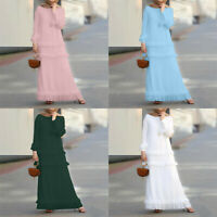 Dress Long Sleeve Kaftan Dubai Maxi Cake Muslim Islamic Abaya Robes Ruffle