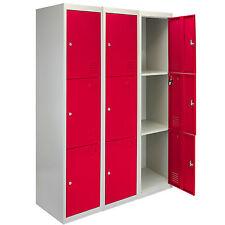 3 x Metal Lockers 3 Doors Flatpack Staff Storage Lockable School Red - 45cm D