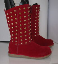 new RED Gold spikes comfortable winter sexy mid-calf boot inside fur Size   6  p