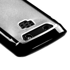 For BlackBerry Torch 9850 9860 TPU Gel GUMMY Hard Skin Case Cover Black Clear