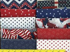 """Red White Blue Patriotic Colors Jelly Roll 40 - 2.5"""" Strips Quilting Fabric #b1"""