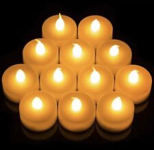 12 PCS YELLOW LED TEA LIGHT CANDLES XMAS DECORATIONS WITH BATTERIES UK SLR