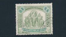 "Malaya (Fed) #34 (1907) ""$1 ELEPHANTS & HOWDAH""; CHALKY PAPER; CV $57.50"
