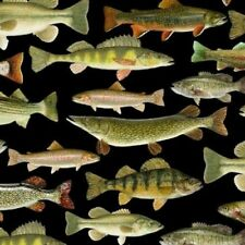 Fat Quarter Fishing Fish Nature Cotton Quilting Sewing Patchwork Fabric