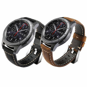 NY Genuine Leather Strap Watch Band For Samsung Gear S3 Frontier Classic 22mm