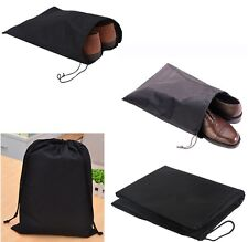 3X  Black Waterproof Non Woven Breathable Travel Shoe Bags Drawstring Closure