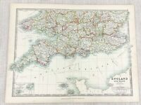 1896 Antik Map Of England Devon Cornwall Dorset Surrey 19th Jahrhundert Johnston