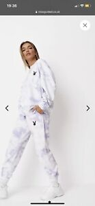 playboy x missguided lilac tie dye oversized joggers. Size Uk S