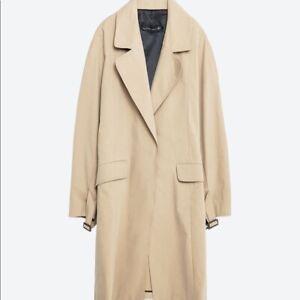 Zara AW 2018/19 Tan Classic Long Open Trench Coat Size M Free P&P NEW